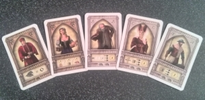You'll get a choice of benefiting from one of these each round. Note the rats on the bottom of each card