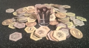 Quasimodo guarding the money and victory point tokens